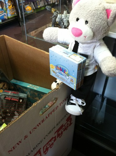 Edgar giving toys